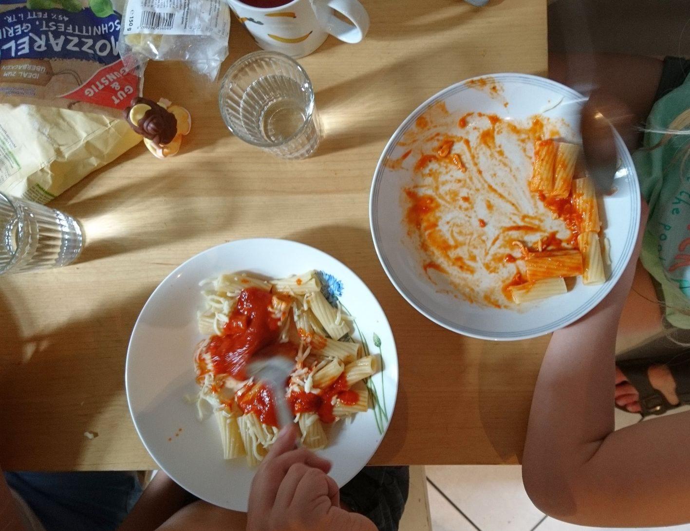 Tomatanesauce, Nudeln, Kinderessen