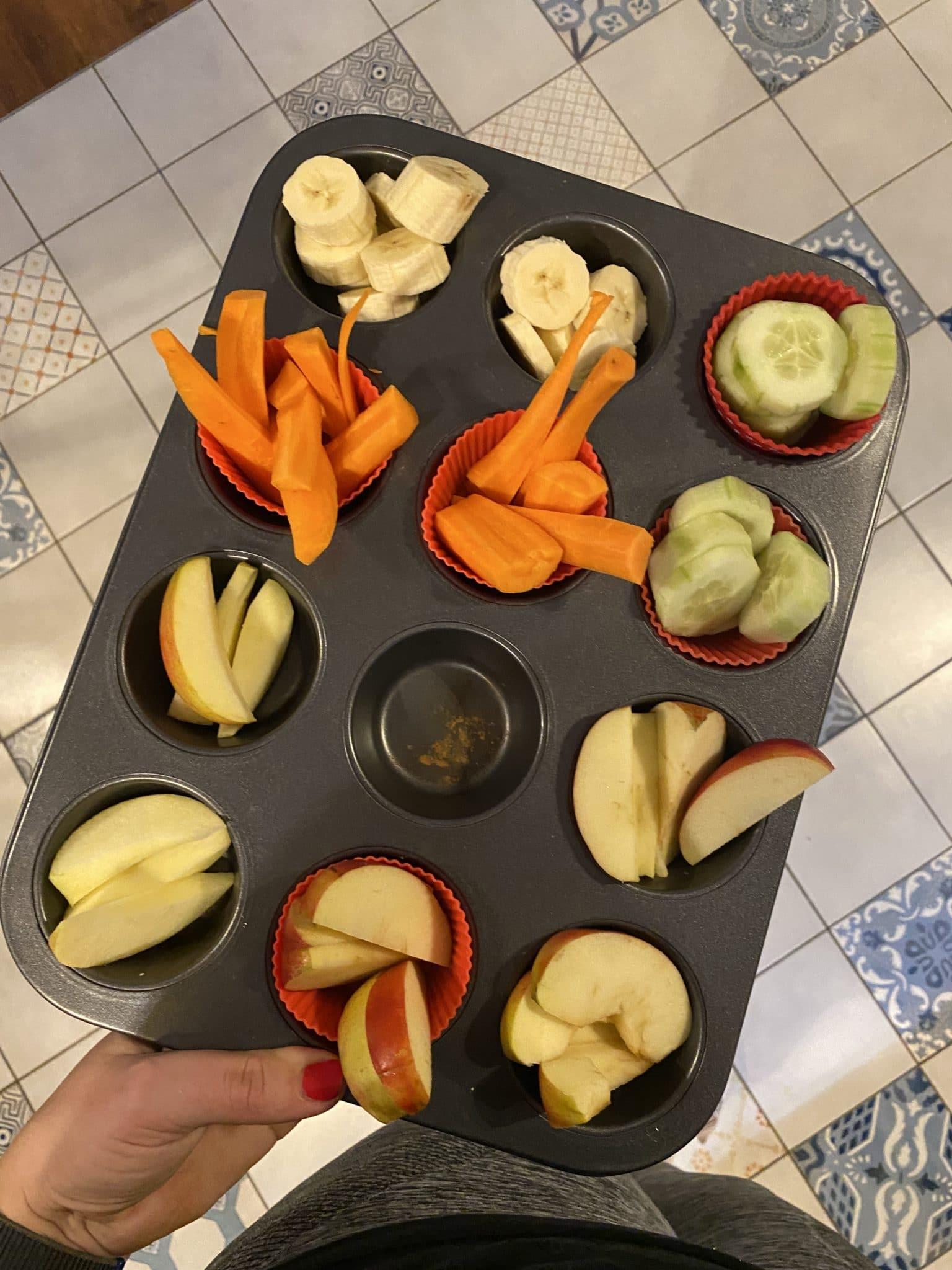 und am Abend Obst und Gemüse mit den Kindern.