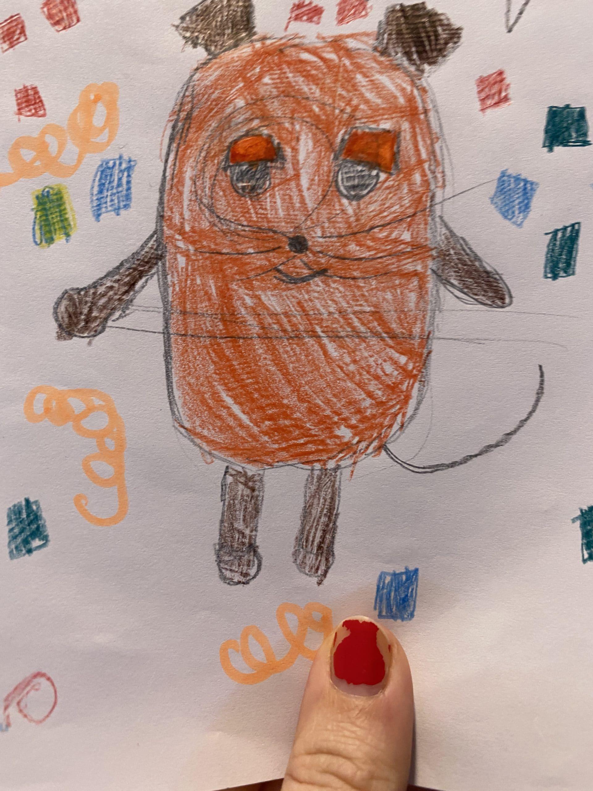 Gemeinsam feiern wir und das kleine Kind zeichnet Maus und Konfetti (Vorzeichnung von K1)